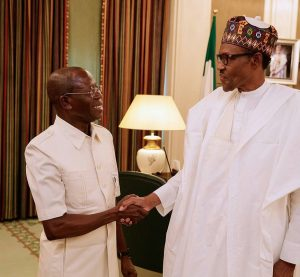 OSHIOMHOLE IN CLOSED DOOR MEETING WITH BUHARI - ABUJA