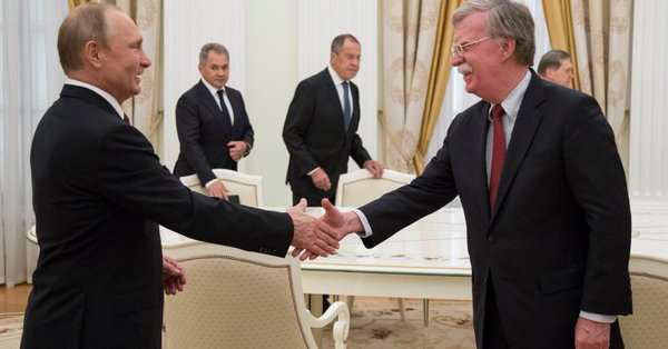 Russian President Vladimir Putin receives Trump National Security Adviser John Bolton in Moscow