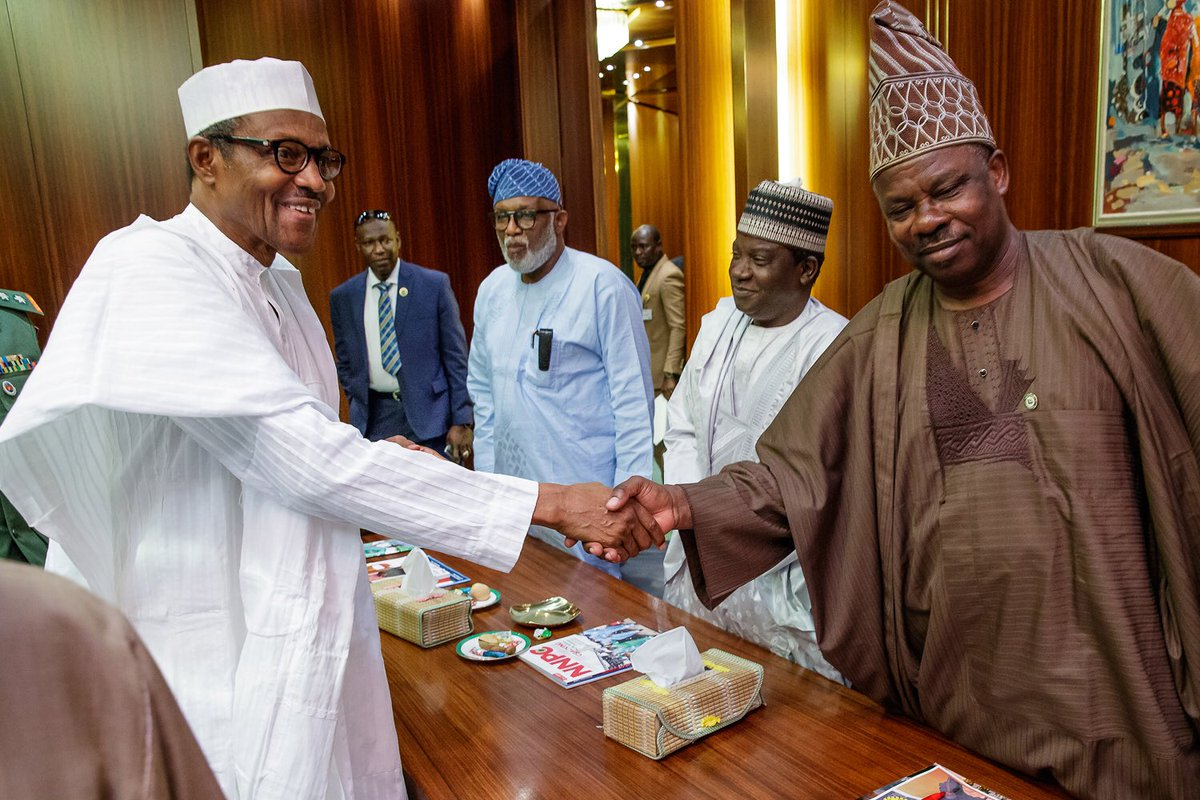 Image result for Buhari holds closed door meeting with 3 South-West Governors