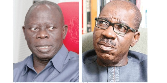 Obaseki, Oshiomhole's imbroglio divides Edo lawmakers as Okiye emerges speaker