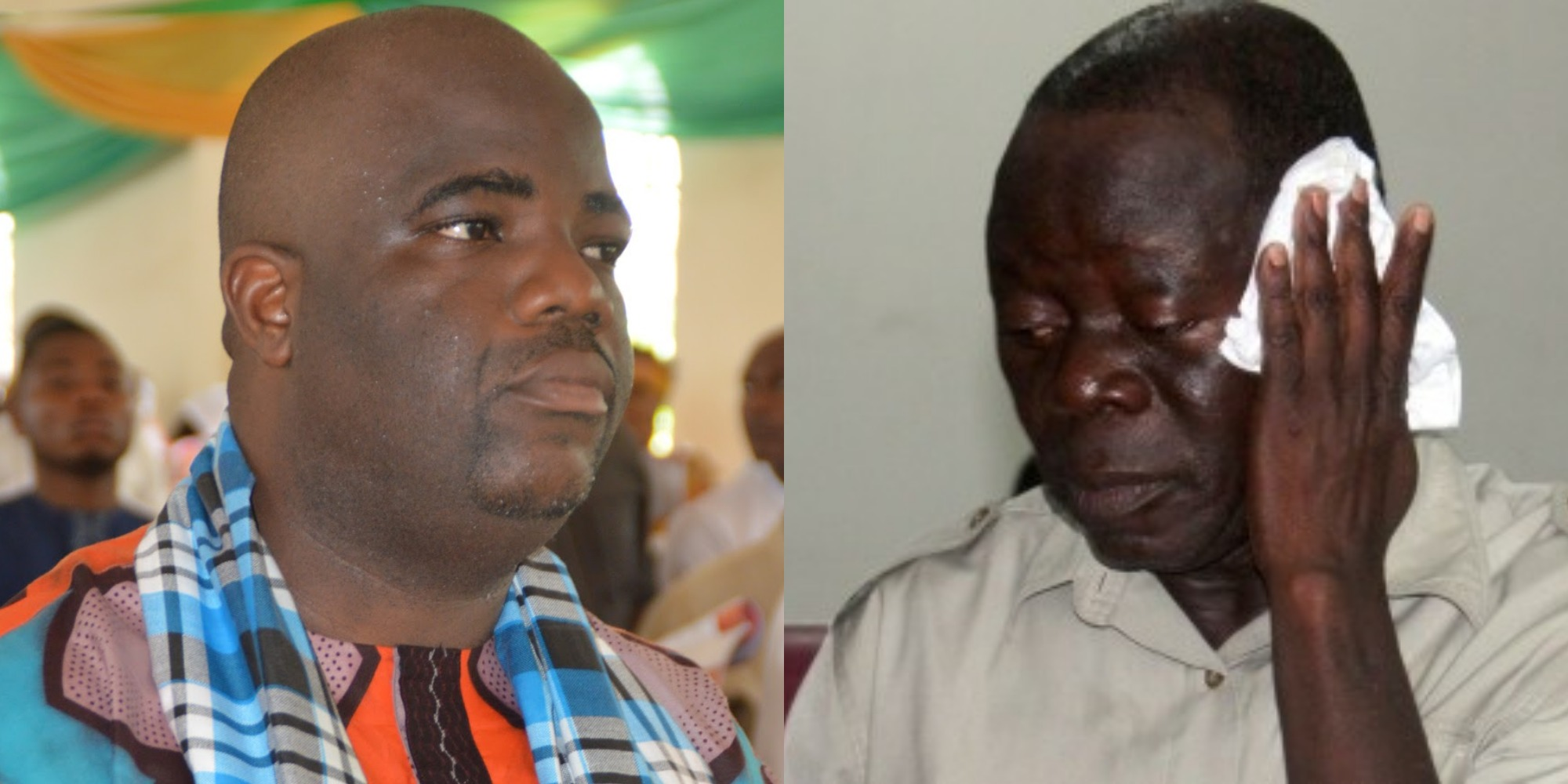 Daniel Nwafor (Left), Adams Oshiomole (Right)