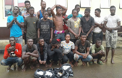 LAGOS TASK FORCE ARRESTS 26 DREADED AWAWA CULT GANG IN AGEGE AREA.