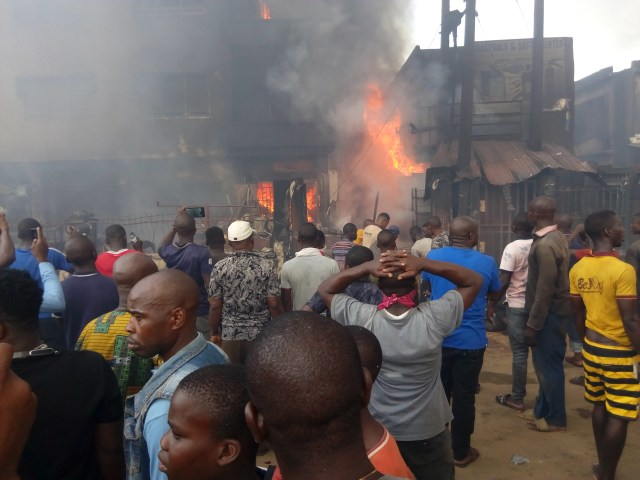 Another fuel tanker fire in Onitsha, razes 22 vehicles, 8 houses