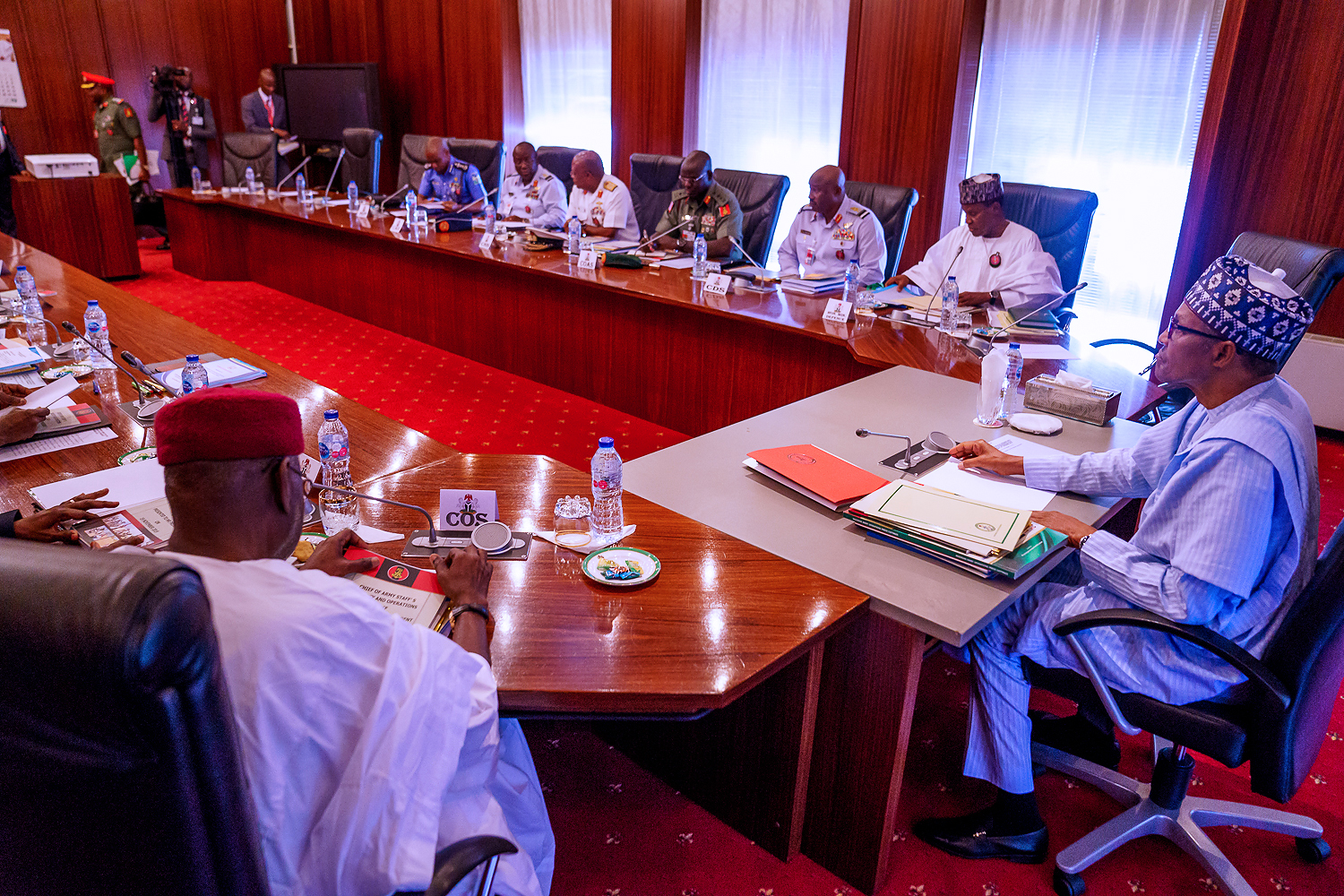 Buhari presides over security briefing in State House