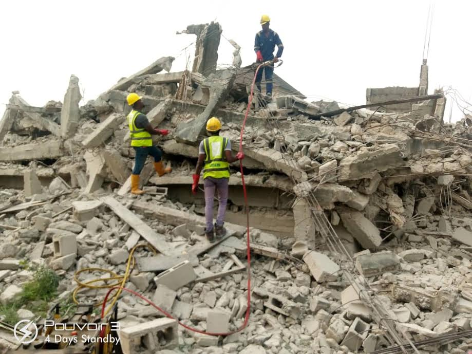 Lagos: Uncompleted structure collapses at Ago Palace Way