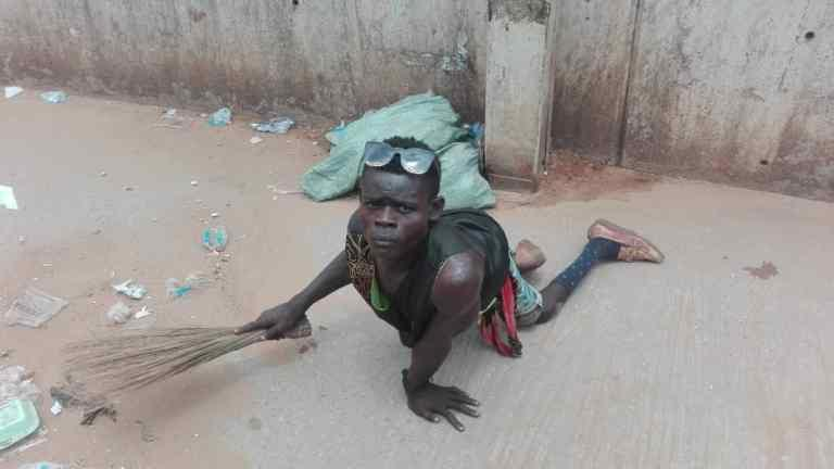 I do it for humanity, says paralytic who sweeps Awka pedestrian bridge