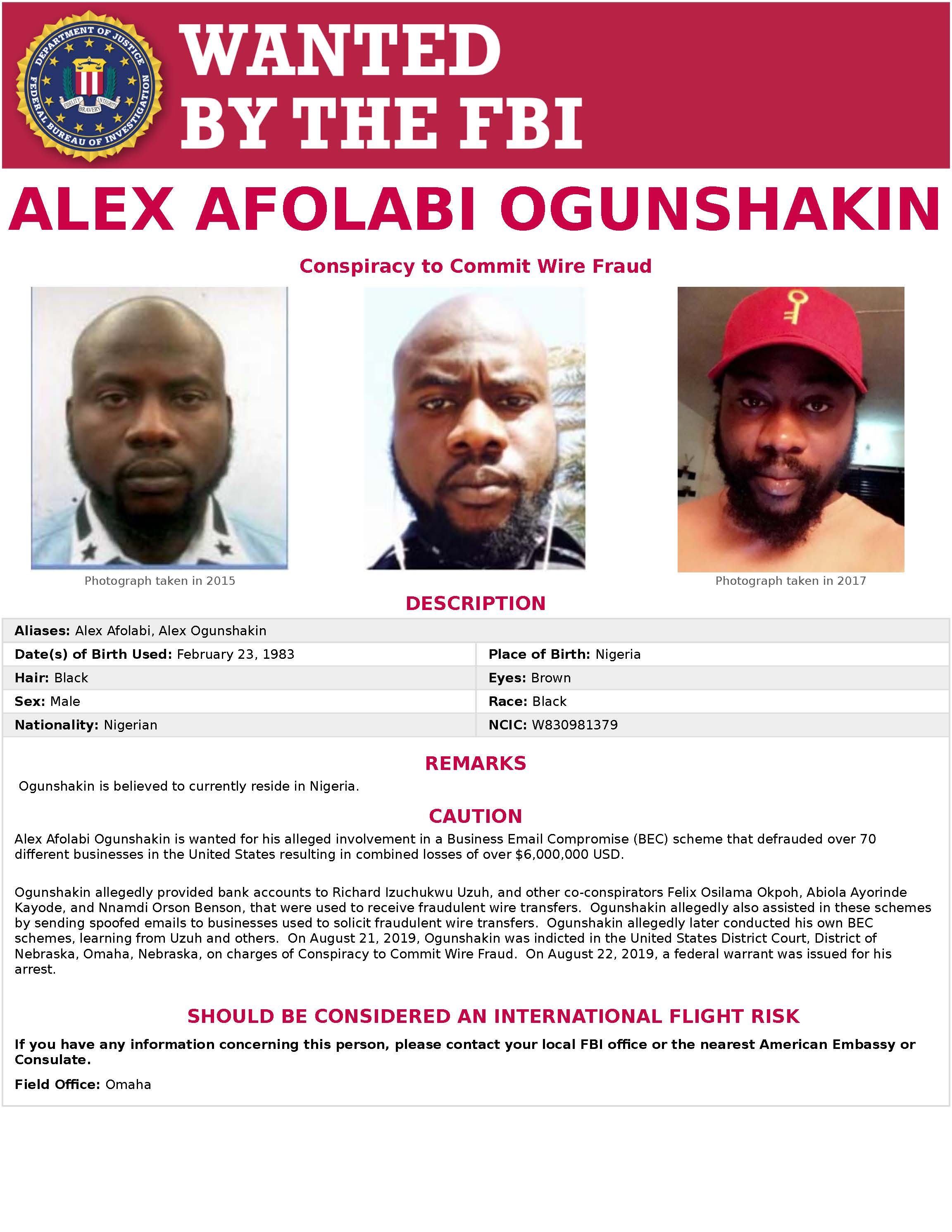 US names six Nigerians in wire fraud, identify theft, access device fraud