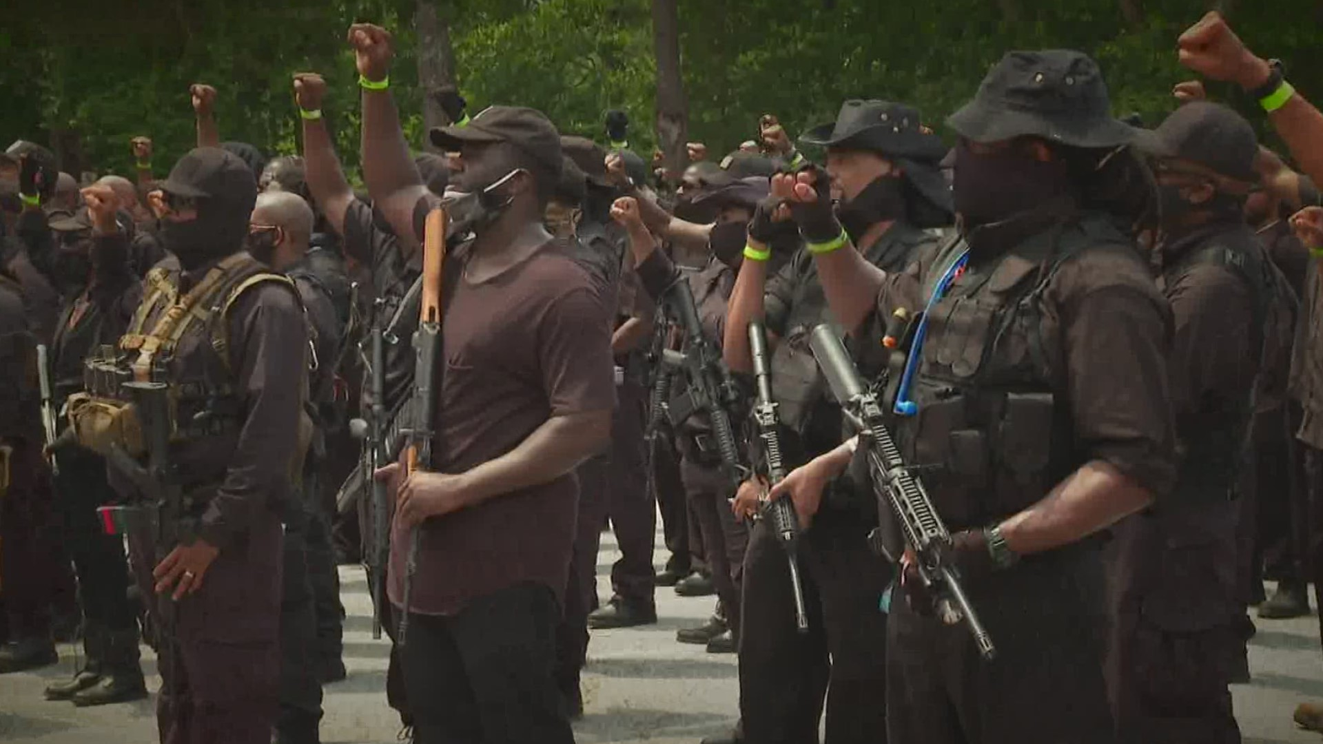 Predominantly Black armed protesters march through Confederate memorial park in Georgia