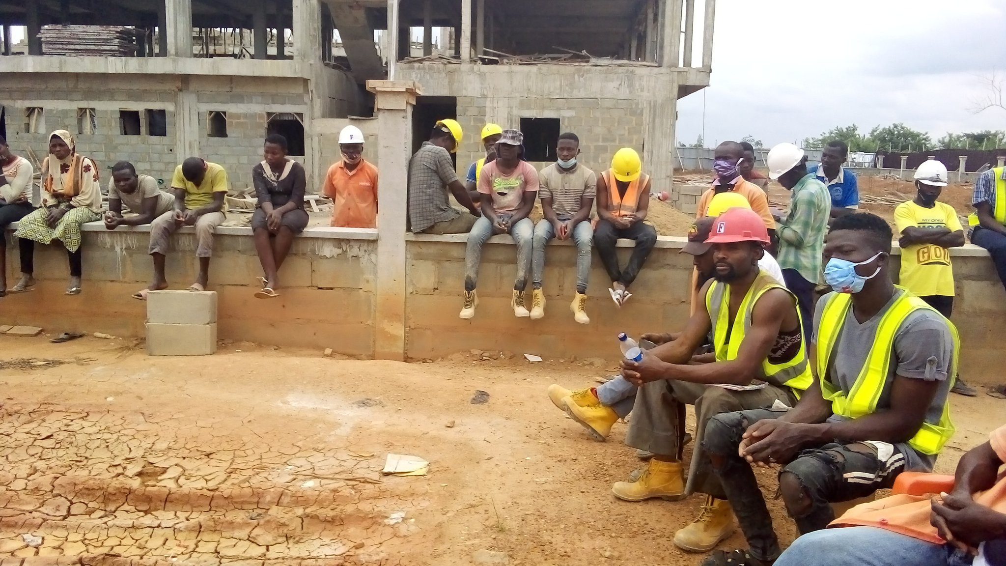 Forstech construction workers being sensitised on Gender Based Violence issues and Sexual Exploitation and Abuse on the NUWSRP-3 in Ekiti State