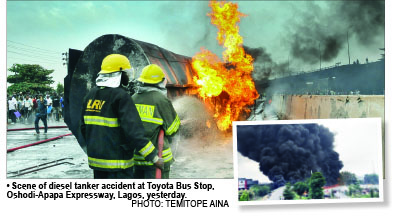 Commuters stranded as oil tanker explodes in Lagos